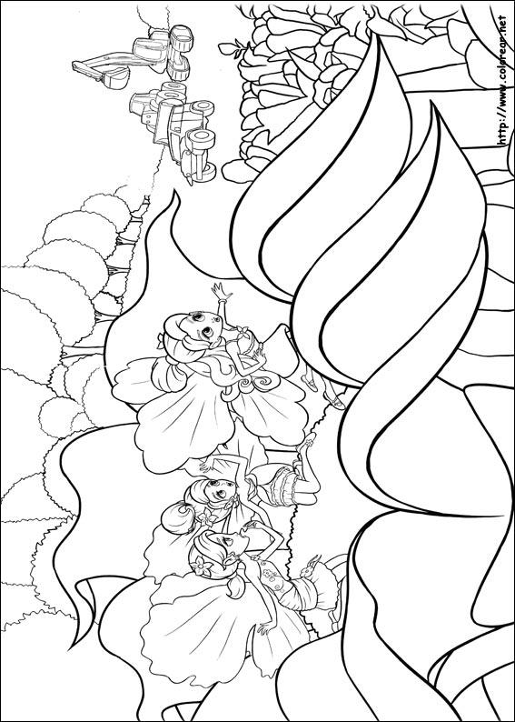 Dibujos para colorear de barbie pulgarcita for Imagenes de cuadros abstractos para colorear