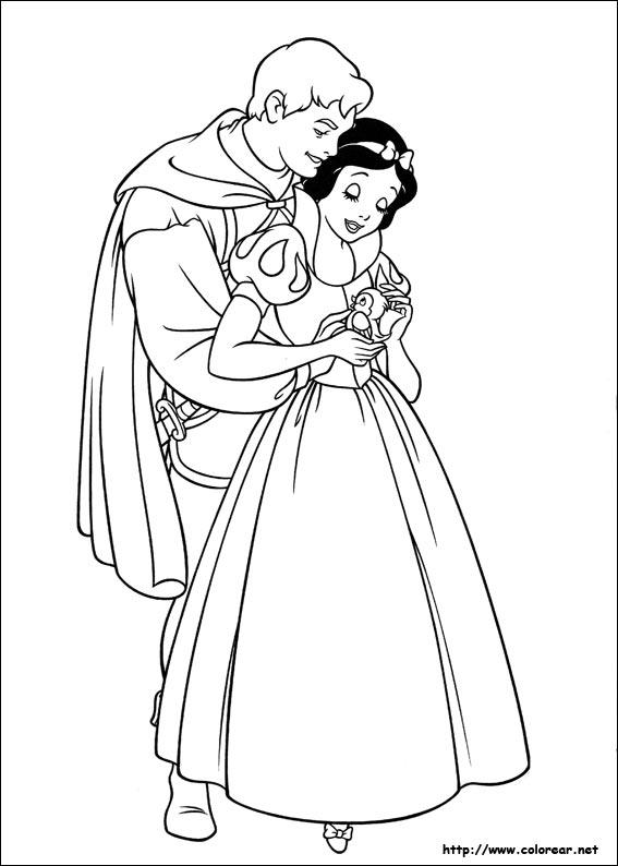 Dibujos para colorear de Blancanieves y los siete enanitos