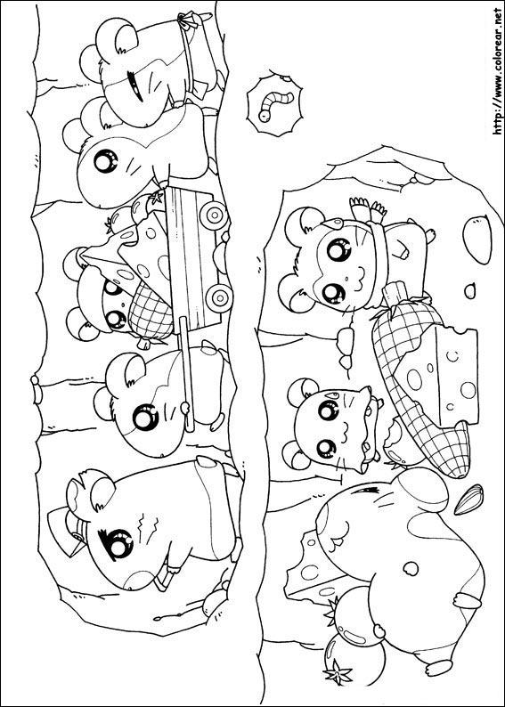 Dibujos para colorear de hamtaro for Hamtaro coloring pages