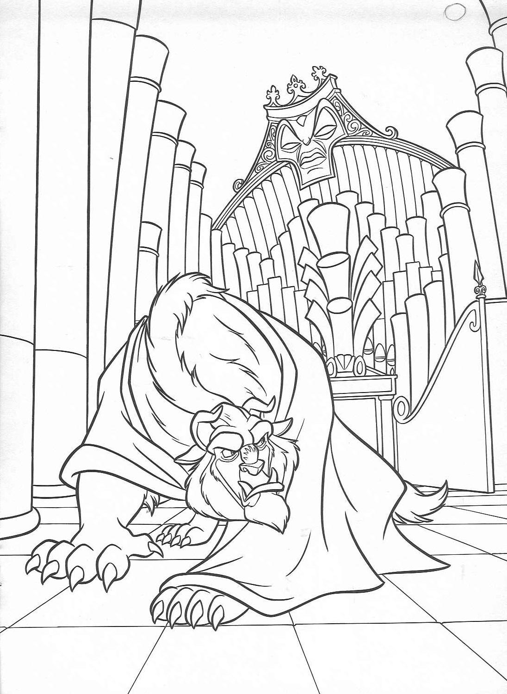 Dibujos para colorear de La Bella y la Bestia