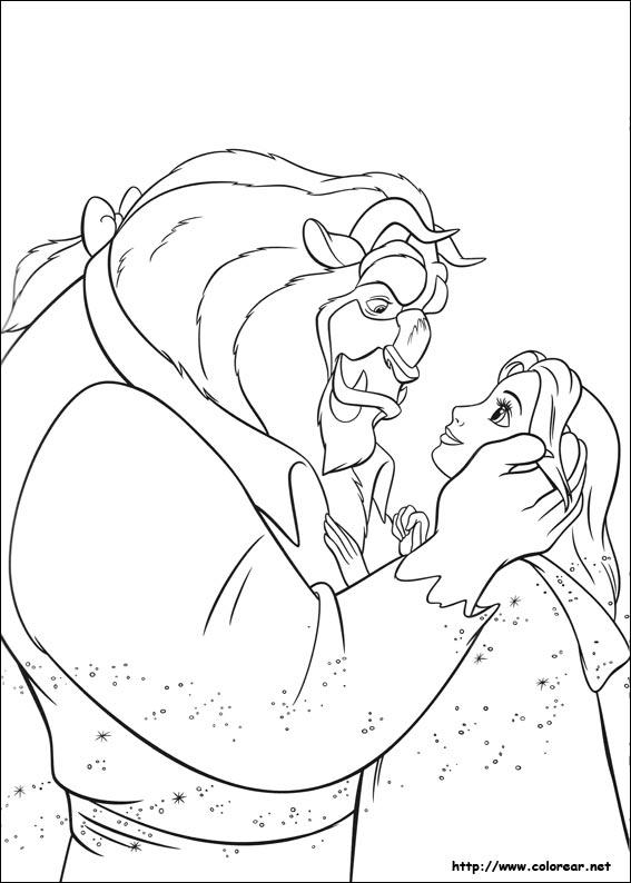 Dibujos de La Bella y la Bestia para colorear en Colorearnet