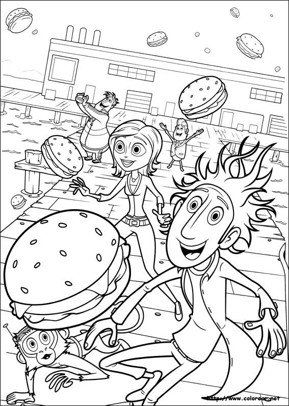 Dibujos para colorear de Lluvia de hamburguesas