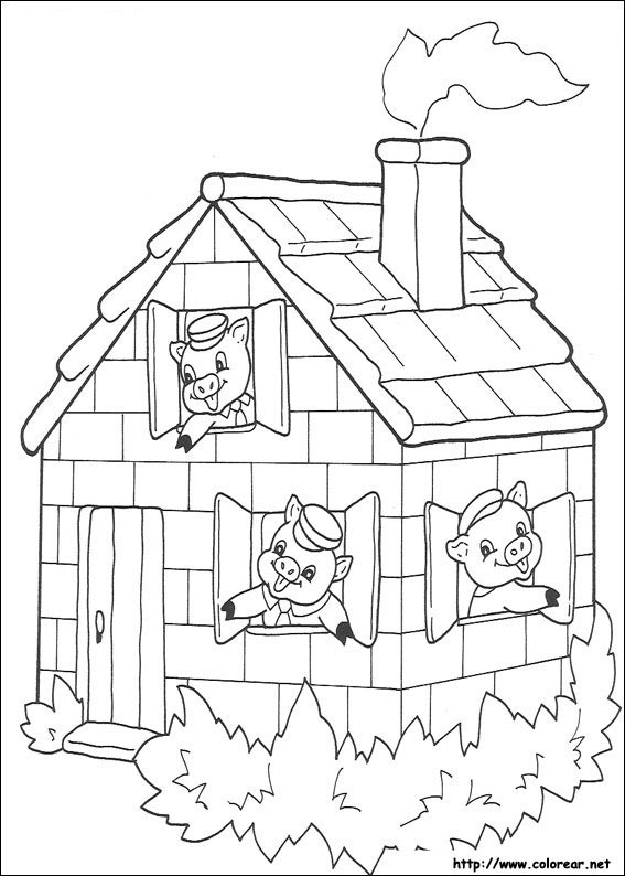 Dibujos de Los tres cochinitos para colorear en Colorear.net