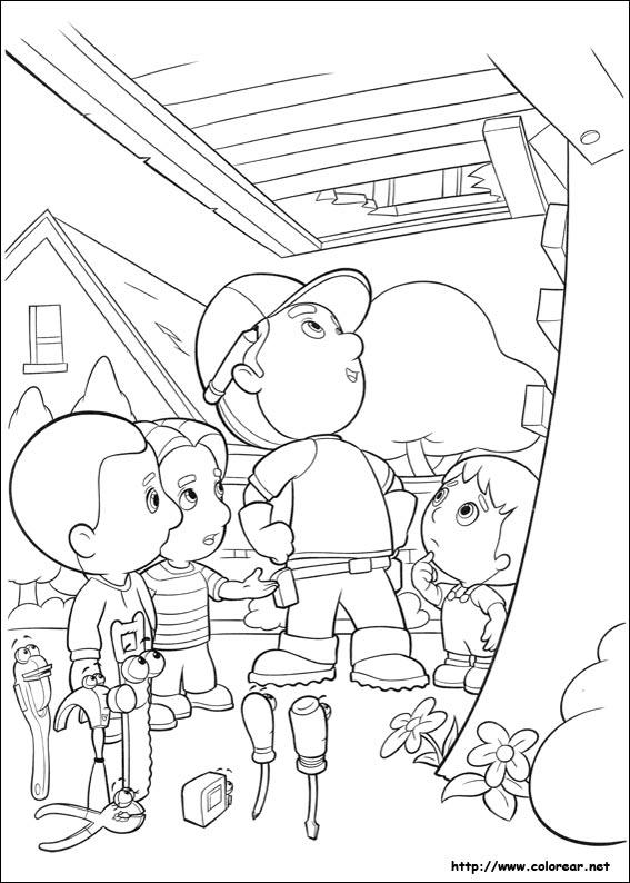 Dibujos para colorear de Manny a la Obra y sus herramientas