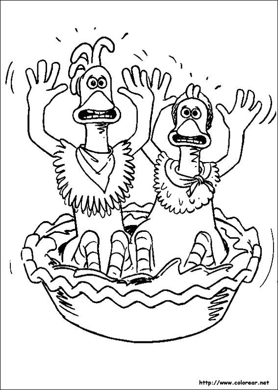 Dibujos para colorear de Pollitos en fuga