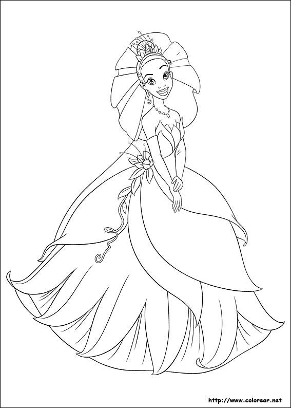Dibujos para colorear de Tiana y el Sapo - La Princesa y