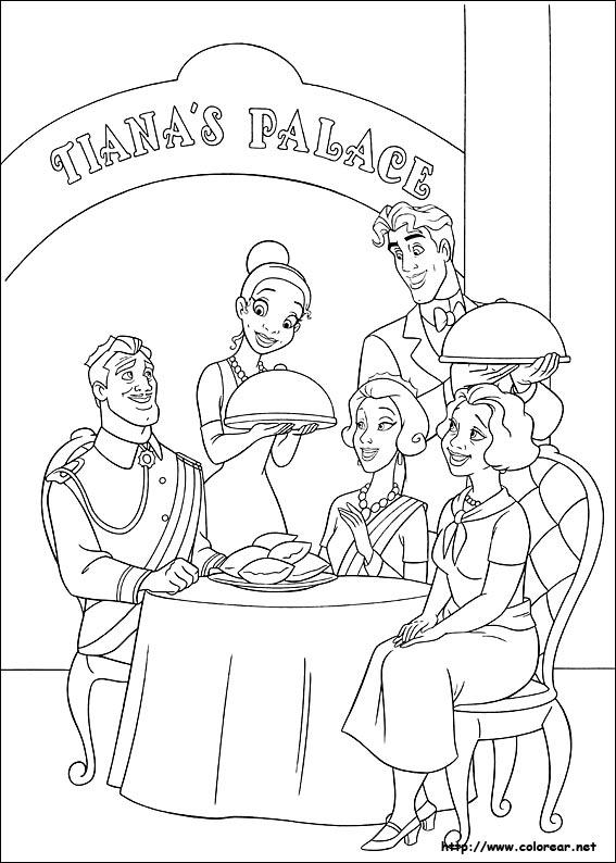Dibujos de Tiana la Princesa y el sapo para colorear en Colorearnet