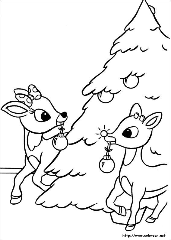 Dibujos de Rudolph, el reno de la nariz roja para colorear en ...