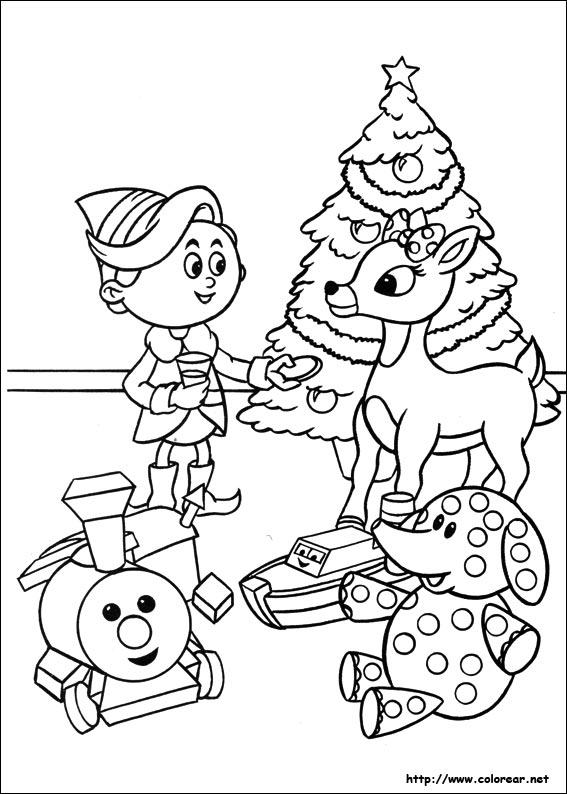 Dibujos para colorear de Rudolph, el reno de la nariz roja