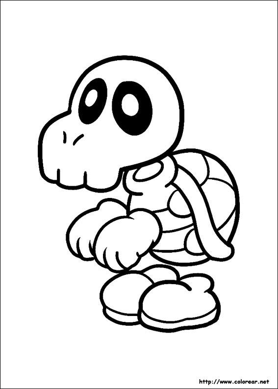 Free coloring pages of mario kart dry bones - Dibujos de super mario bros ...