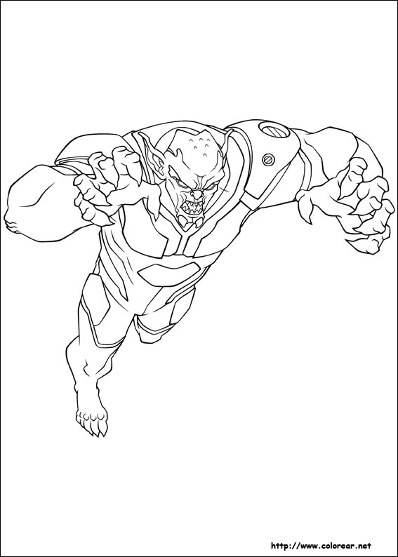 Dibujos para colorear de ultimate spider man for Green goblin coloring pages